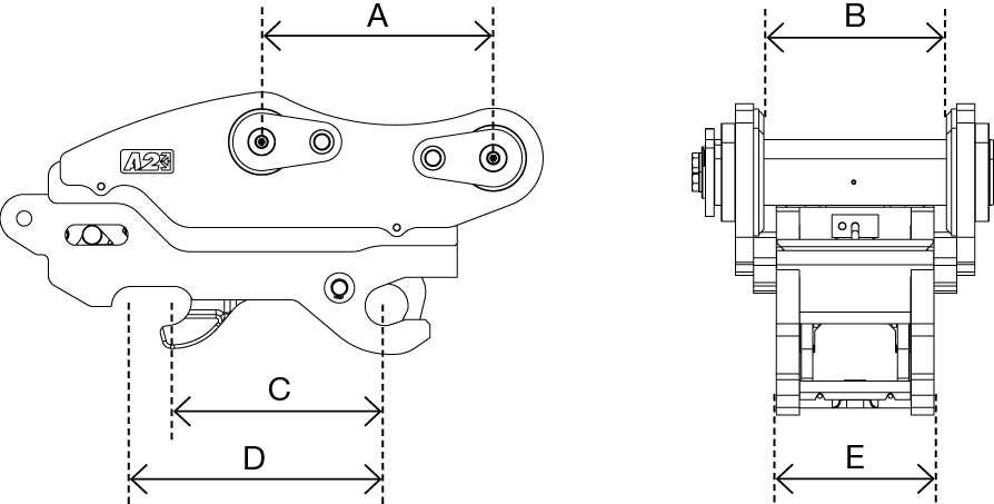 A2Lock Coupler drawing