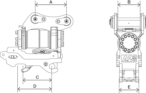 A2Lock Tilt Motor Coupler drawing